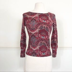 Talbots Petite small Wool sweater red blue paisley